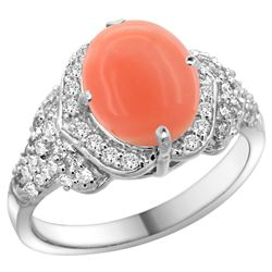 Natural 2.52 ctw coral & Diamond Engagement Ring 14K White Gold - REF-101N4G