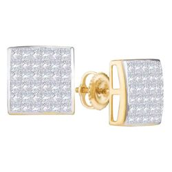 1.04 CTW Princess Diamond Square Cluster Stud Earrings 14KT Yellow Gold - REF-75X2Y