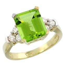 Natural 2.86 ctw peridot & Diamond Engagement Ring 10K Yellow Gold - REF-53F2N
