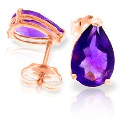 Genuine 3.15 ctw Amethyst Earrings Jewelry 14KT Rose Gold - REF-21N2R