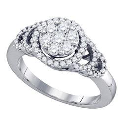 0.71 CTW Diamond Cluster Ring 10KT White Gold - REF-59N9F