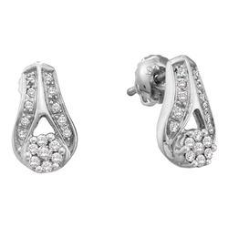 0.25 CTW Diamond Flower Teardrop Earrings 14KT White Gold - REF-37K5W