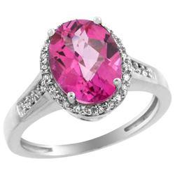 Natural 2.49 ctw Pink-topaz & Diamond Engagement Ring 10K White Gold - REF-31V9F