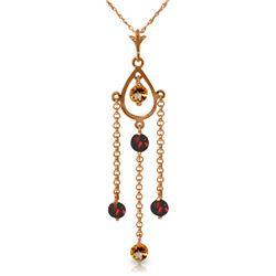 Genuine 1.50 ctw Citrine & Garnet Necklace Jewelry 14KT Rose Gold - REF-29Y7F