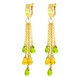 Genuine 7.3 ctw Peridot & Citrine Earrings Jewelry 14KT Yellow Gold - REF-62A3K