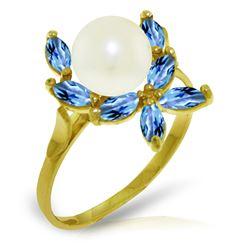 Genuine 2.65 ctw Blue Topaz Ring Jewelry 14KT Yellow Gold - REF-28F5Z