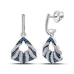 0.50 CTW Black Color Diamond Dangle Earrings 10KT White Gold - REF-53X9Y