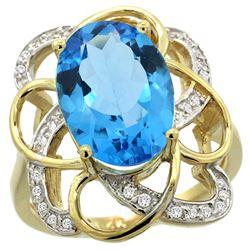 Natural 5.59 ctw swiss-blue-topaz & Diamond Engagement Ring 14K Yellow Gold - REF-59H6W