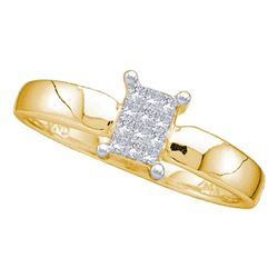 0.12 CTW Princess Diamond Cluster Bridal Engagement Ring 14KT Yellow Gold - REF-16M4H