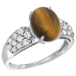 Natural 2.65 ctw tiger-eye & Diamond Engagement Ring 14K White Gold - REF-56Y2X