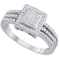 0.35 CTW Diamond Square Cluster Ring 10KT White Gold - REF-30X2Y