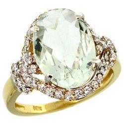 Natural 5.89 ctw green-amethyst & Diamond Engagement Ring 14K Yellow Gold - REF-88V8F