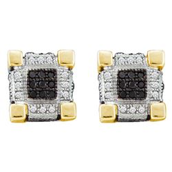 0.28 CTW Mens Diamond 3D Cube Square Cluster Stud Earrings 10KT Yellow Gold - REF-26M9H