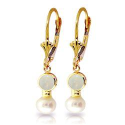 Genuine 5.17 ctw Opal & Pearl Earrings Jewelry 14KT Yellow Gold - REF-36R5P