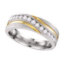 0.26 CTW Mens Diamond Wedding Anniversary Ring 10KT Two-tone Gold - REF-41X9Y