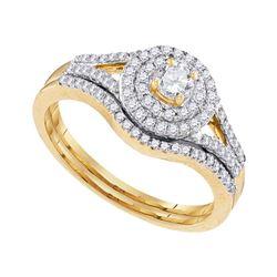 0.50 CTW Diamond Halo Bridal Wedding Engagement Ring 10KT Yellow Gold - REF-52K4W