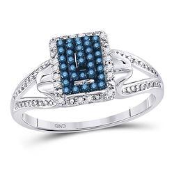 0.15 CTW Blue Color Diamond Cluster Ring 10KT White Gold - REF-18M2H