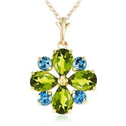 Genuine 2.43 ctw Peridot & Blue Topaz Necklace Jewelry 14KT Yellow Gold - REF-29N7R