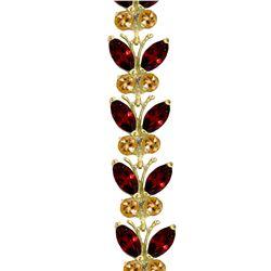 Genuine 16.5 ctw Garnet & Citrine Bracelet Jewelry 14KT White Gold - REF-179H2X