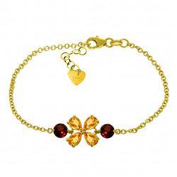 Genuine 3.15 ctw Citrine & Garnet Bracelet Jewelry 14KT Yellow Gold - REF-56V4W