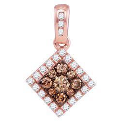 0.36 CTW Cognac-brown Color Diamond Diagonal Square Pendant 10KT Rose Gold - REF-22K4W