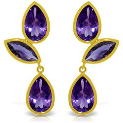 Genuine 13 ctw Amethyst Earrings Jewelry 14KT Yellow Gold - REF-58P7H