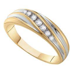 0.16 CTW Mens Diamond Wedding Ring 10KT Two-tone Gold - REF-22F4N