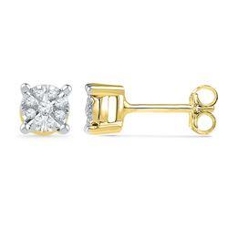 0.14 CTW Diamond Cluster Screwback Earrings 10KT Yellow Gold - REF-24W2K