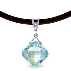 Genuine 8.76 ctw Blue Topaz & Diamond Necklace Jewelry 14KT White Gold - REF-30F6Z