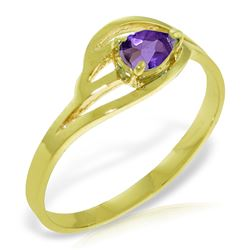 Genuine 0.30 CTW Amethyst Ring Jewelry 14KT Yellow Gold - REF-30V5W