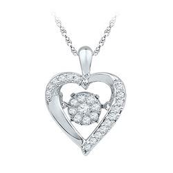 0.16 CTW Moving Twinkle Diamond Heart Pendant 10KT White Gold - REF-18W7K