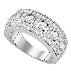 0.97 CTW Diamond Triple Row Ring 14KT White Gold - REF-134K9W