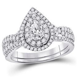 1.01 CTW Pear Diamond Bridal Wedding Engagement Ring 14KT White Gold - REF-164N9F