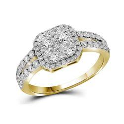 1.25 CTW Diamond Square-shape Cluster Split-shank Ring 10KT Yellow Gold - REF-146K9W