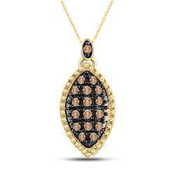 0.22 CTW Cognac-brown Color Diamond Cluster Pendant 10KT Yellow Gold - REF-12W2K