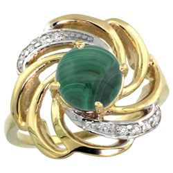 Natural 5.15 ctw malachite & Diamond Engagement Ring 14K Yellow Gold - REF-55G4M