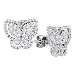1.23 CTW Diamond Butterfly Bug Stud Earrings 18KT White Gold - REF-240N2F