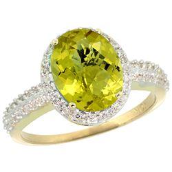 Natural 2.56 ctw Lemon-quartz & Diamond Engagement Ring 14K Yellow Gold - REF-41Z2Y