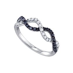 0.45 CTW Black Color Diamond Woven Ring 10KT White Gold - REF-34Y4X