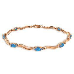 Genuine 2.16 ctw Blue Topaz & Diamond Bracelet Jewelry 14KT Rose Gold - REF-76A7K