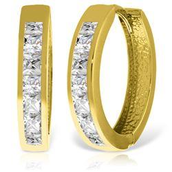 Genuine 1.85 ctw White Topaz Earrings Jewelry 14KT Yellow Gold - REF-57N6R