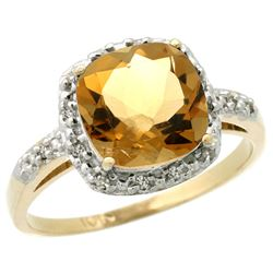 Natural 3.92 ctw Citrine & Diamond Engagement Ring 14K Yellow Gold - REF-35W2K
