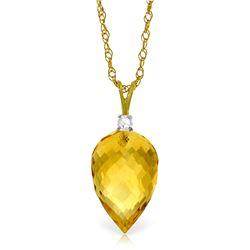 Genuine 9.55 ctw Citrine & Diamond Necklace Jewelry 14KT Yellow Gold - REF-25R3P