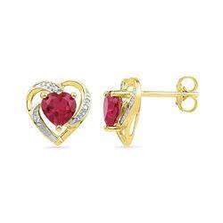 0.41 CTW Created Ruby Heart Love Earrings 10KT Yellow Gold - REF-12N2F