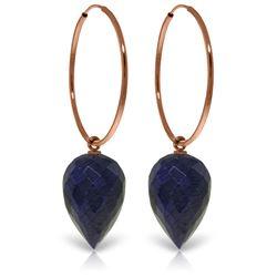Genuine 25.8 ctw Corundum Earrings Jewelry 14KT Rose Gold - REF-36F9Z