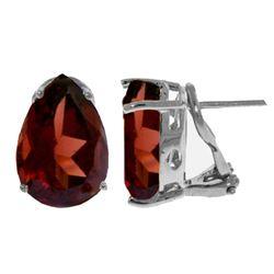 Genuine 10 ctw Garnet Earrings Jewelry 14KT White Gold - REF-61V2W