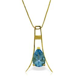 Genuine 1.50 ctw Blue Topaz Necklace Jewelry 14KT Yellow Gold - REF-35V4W