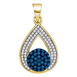 0.33 CTW Blue Color Diamond Teardrop Cluster Pendant 10KT Yellow Gold - REF-22W4K