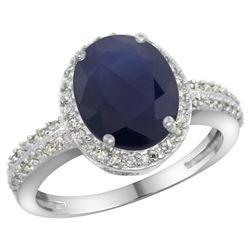 Natural 2.56 ctw Blue-sapphire & Diamond Engagement Ring 14K White Gold - REF-102V7F