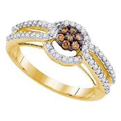 0.50 CTW Brown Color Diamond Cluster Bridal Engagement Ring 10KT Yellow Gold - REF-40F4N